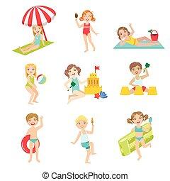 plage, gosses, ensemble, jouer