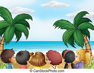 plage, gosses, groupe