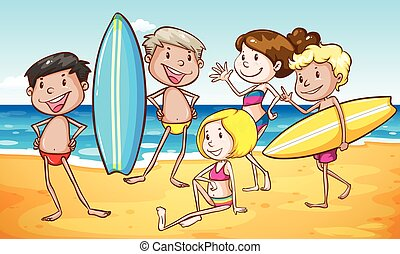 plage, groupe, gens