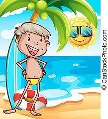 plage, homme