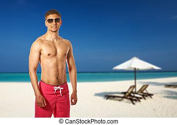 plage, homme, maldives