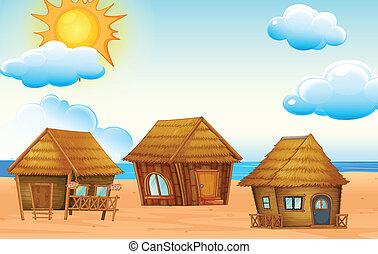 plage, huttes