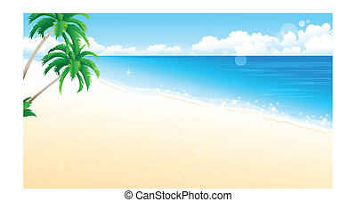plage, idyllique, palmier