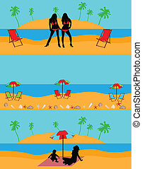 plage, illustration, vecteur, -