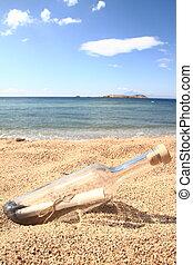 plage, intérieur, lavé haut, bouteille, message