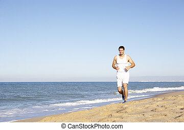 plage, jeune, courant, fitness, long, habillement, homme