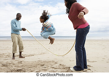 plage, jouer, famille
