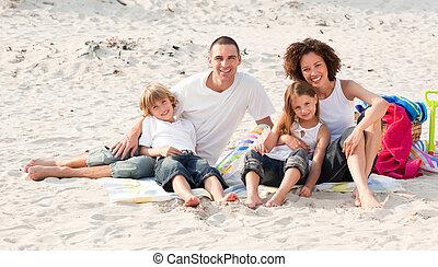 plage, jouer, famille, séance
