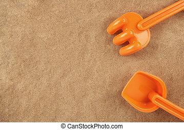 plage, jouet, espace, râteau, text., above., pelle, directement, copie, ton
