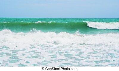 plage., jour ensoleillé, côte, mer, vagues