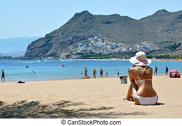 plage, la, scene., playa, teresitas., tenerife, canaris, de
