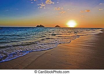 plage, levers de soleil, lanikai, hawaï, pacifique