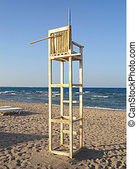 plage, lifeguard chaise