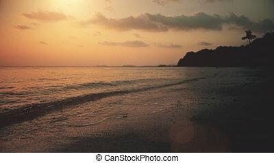 plage, littoral, paysage, idyllique, océan, coucher soleil, ...