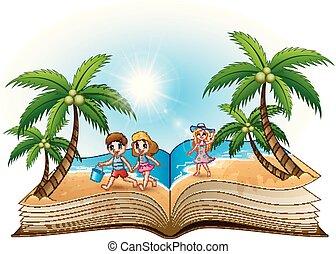 plage, livre, ouvert, enfants, heureux