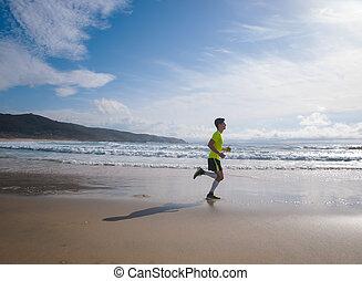 plage, long, jeune homme, habillement, fitness, courant
