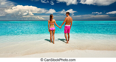 plage, maldives, couple