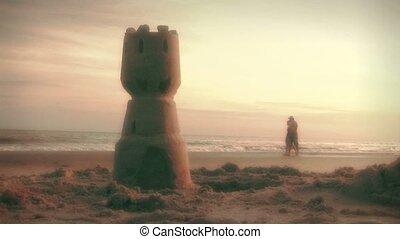plage, marche, (1002), couple, aube