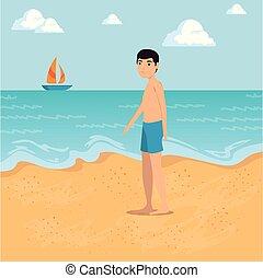 plage, marche, conception, long, homme