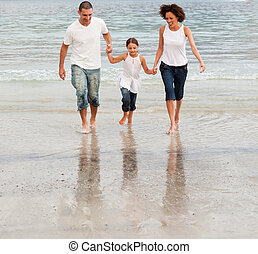 plage, marche, famille
