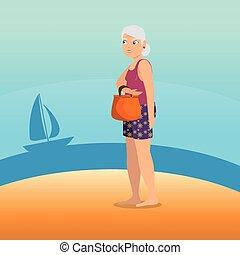plage, marche, femme, conception, long