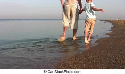 plage, marche, père, fils