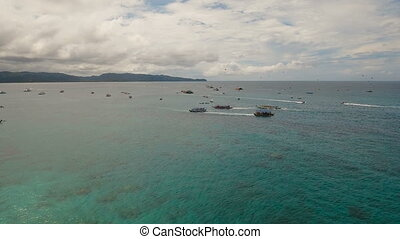 plage, mer, île, attraction, boracay, philippines., resort.