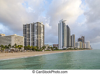 plage, miami, ensoleillé, matin, tôt, gratte-ciel, plage, îles, vue