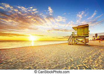 plage miami, sud, levers de soleil