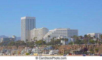 plage monica santa, los angeles, californie