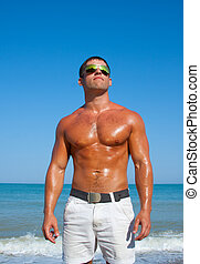 plage, musculaire, brutal, homme