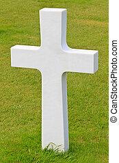 plage, omaha, soldat, (colleville-sur-mer), cimetière, croix, marbre, américain, normandie, baissé, guerre