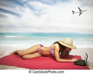 plage, ordinateur portable, femme
