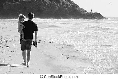 plage, père, gosse