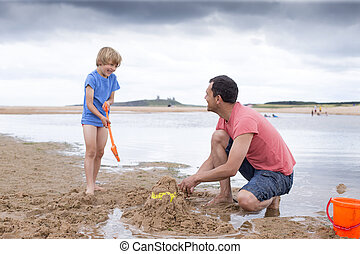 plage, père, jouer, fils