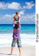 plage, père, vacances, fils