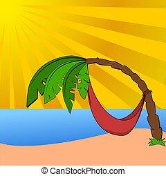 plage, palmier