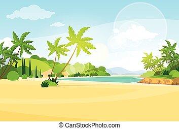 plage, palmier, vacances tropicales, été, océan, île, plat