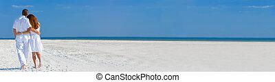plage, panorama, marche, toile, femme homme, vide, bannière, couple, panoramique