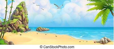 plage., panorama., mer, baie, exotique, vecteur, fond