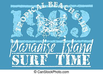plage, paradis, art, vecteur, long