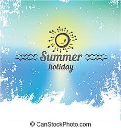 plage, paradis, résumé, fond, été