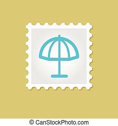 plage, parasol, vecteur, timbre