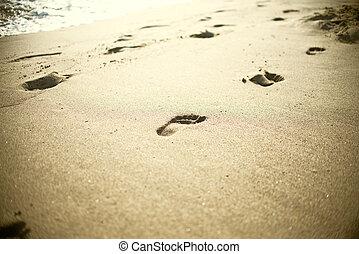 plage, pas, vague