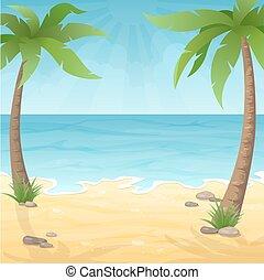 plage, paume, deux, arbres