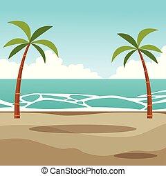 plage, paumes, paysage, dessin animé