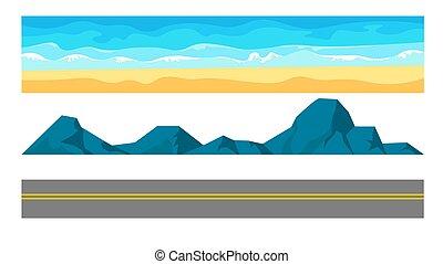 plage, paysage, route, ensemble, sable, océan, constructeur, autoroute