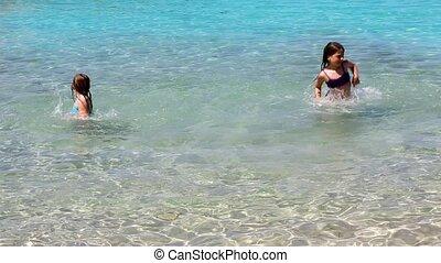 plage, petites filles, rivage, jouer