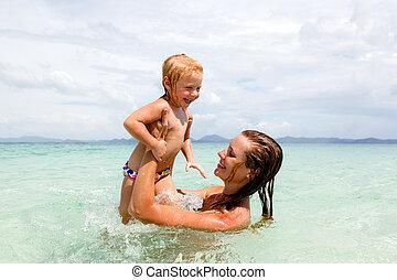 plage, peu, fille, mère