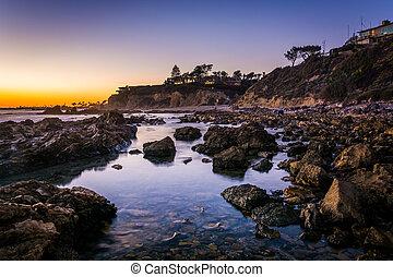 plage, peu, gâter, couronne, marée, del, piscines, coucher ...